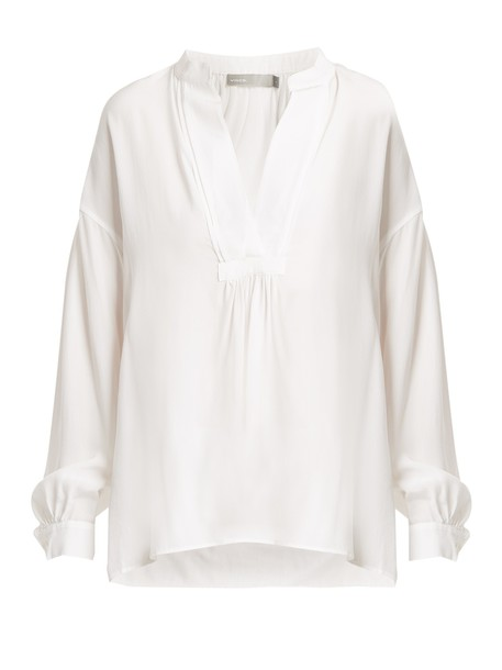 Vince blouse long silk white top