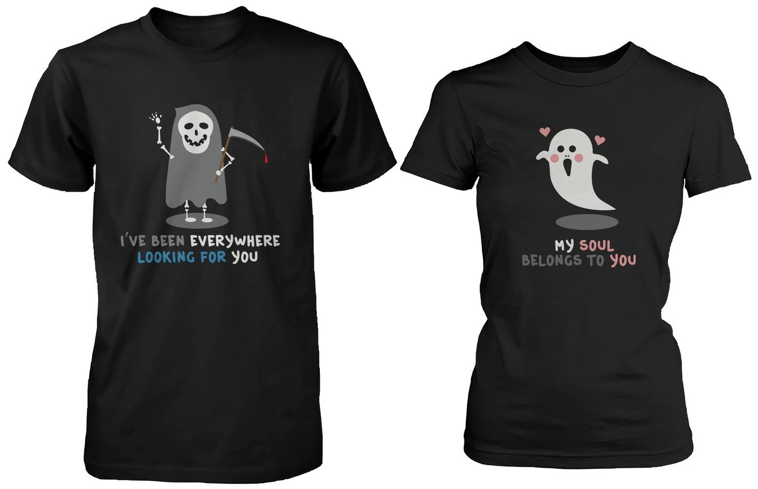Amazon.com: Halloween Matching Couple Shirts - Cute Skeleton and Ghost Couples: Clothing
