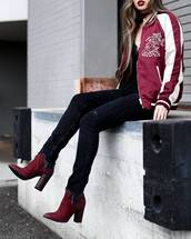 shoes,tumblr,boots,red boots,burgundy,thick heel,block heels,ankle boots,denim,jeans,black jeans,bomber jacket,baseball jacket,teddy jacket,top,black top,fall outfits,thick heel boots