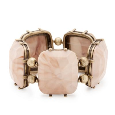 Burnished metal and marbleised pink facet stone stretch bracelet - Bracelets - Debenhams.com