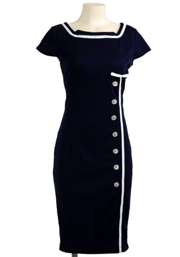 50s style 50s style vintage retro Pin up navy dress sailor