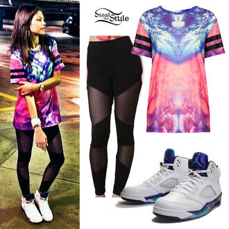 shirt jeans dope top shop t-shirt dope shit colorful patterns jordans zendaya pants top starbucks coffee logo galaxy print leggings sneakers shoes mesh black leggings mesh leggings pink blue shirt colorful urban tomboy pink blue stripes swag multicolor