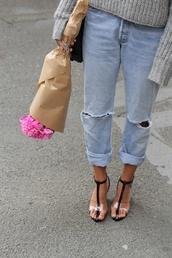 jeans,boyfriend,straight jeans,shoes,high heels,black