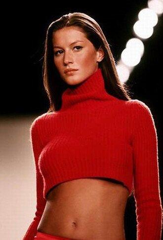 sweater gisele bündchen red sweater cropped sweater model