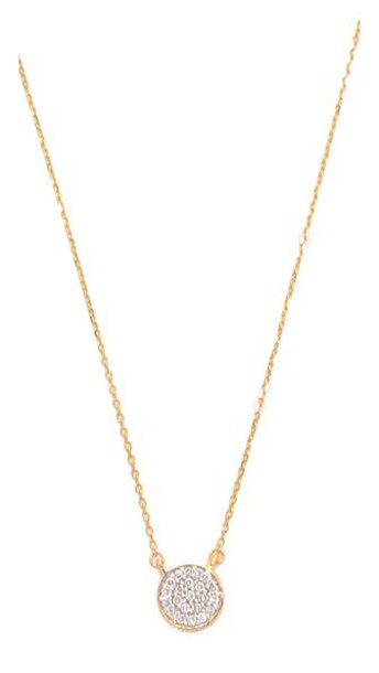 Adina Reyter Solid Pave Disc Necklace - Gold/Clear