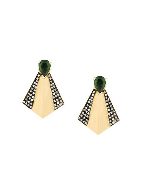 Ileana Makri women earrings stud earrings gold grey metallic jewels