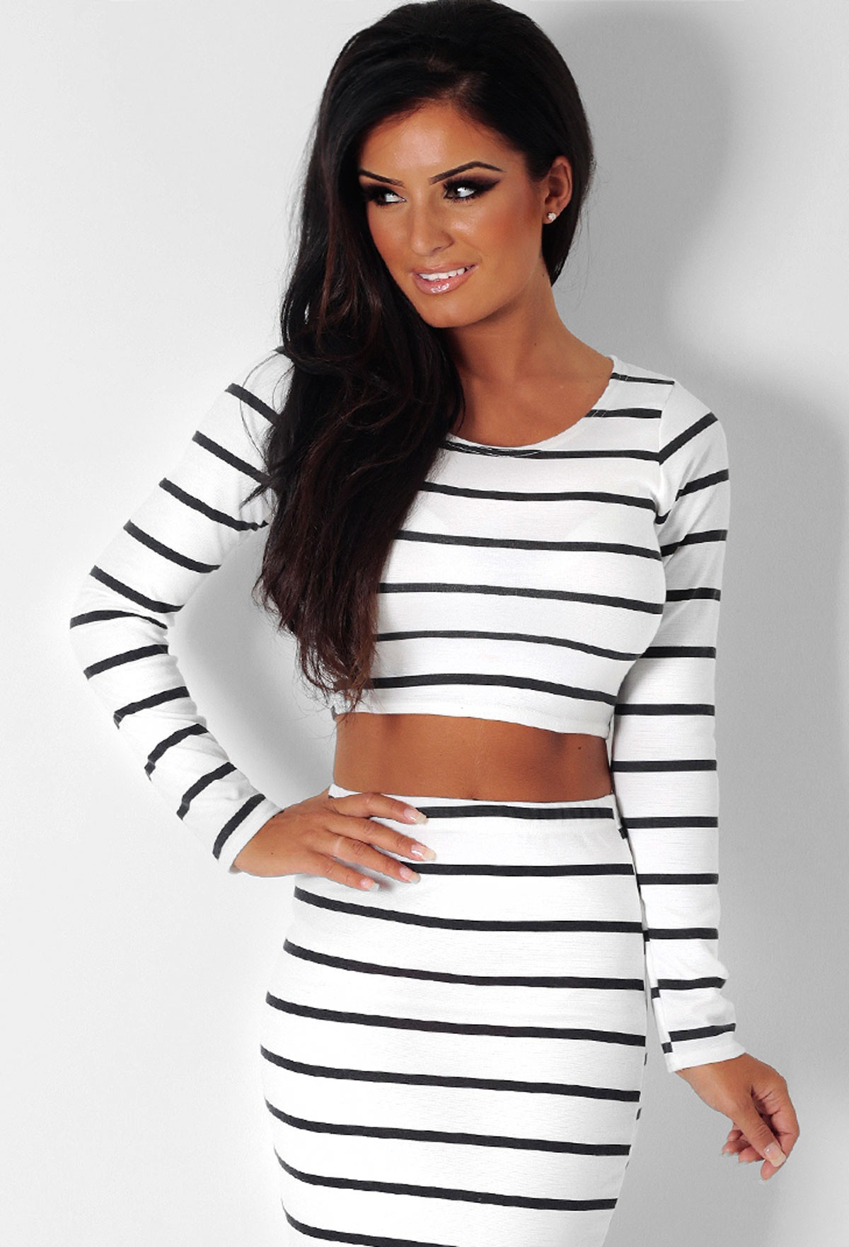 Hattie white and black stripe print crop top