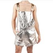 shorts,mens overalls,metallic shorts,gold,silver,summer outfits,so gay