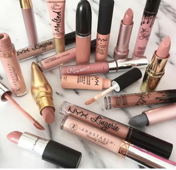 make-up lipstick nyxcosmetics lip gloss pink nude makeup nude mac cosmetics fashion