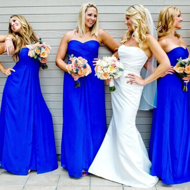 Dress: bride, long, blue, navy, bridesmaid, maxi dress, long dress ...