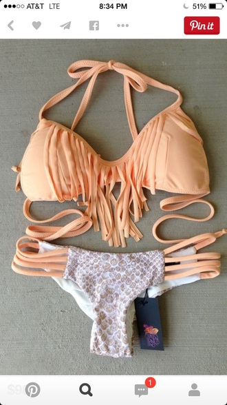 swimwear peach fringe