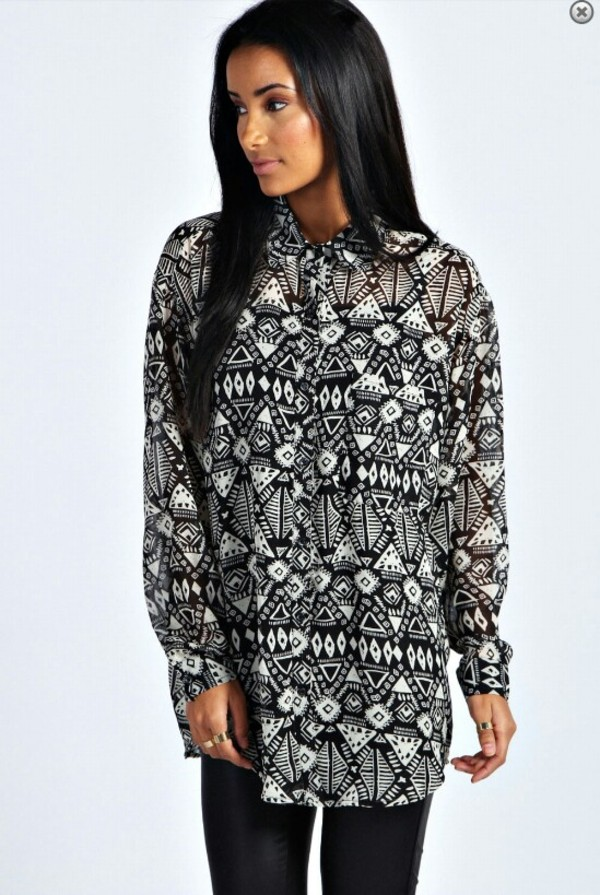 shirt aztec blouse aztec shirt blouse black and white