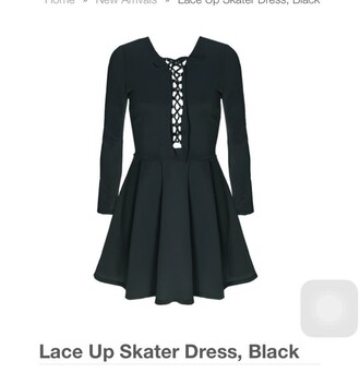 dress lace up black skaterdress cute lace up skater mini short