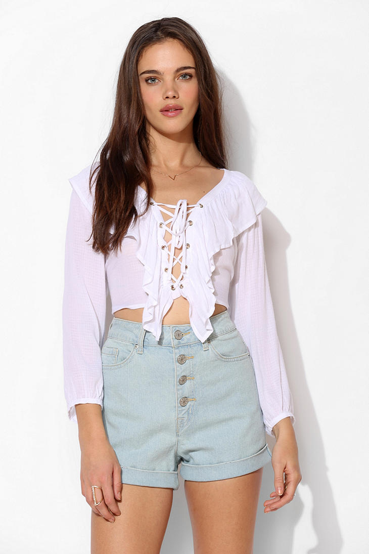 BDG Chloe Exposed-Button Short - Urban Outfitters