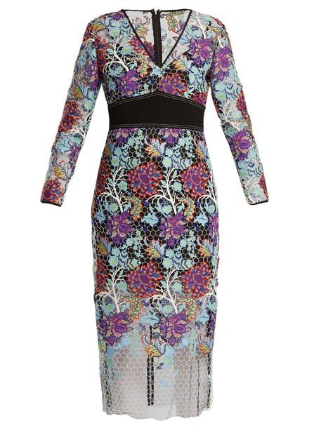 Diane Von Furstenberg dress lace dress lace floral blue