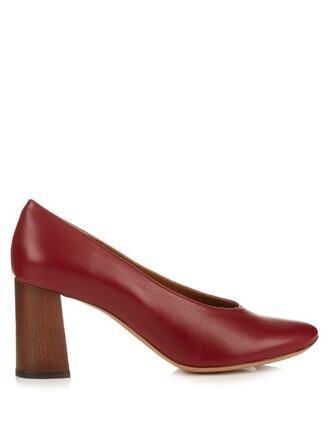 heel pumps leather dark dark red red shoes