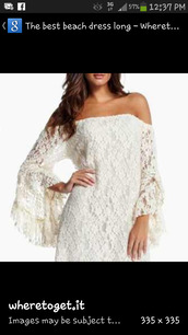 dress,boho,lace,beach,honeymoon,short,bell sleeves,angel sleeve,long sleeves,chic,gypsy,hippie,retro,vintage,off the shoulder,white lace dress,white,white dress,lace dress,style,fashion,strapless/off the shoulder,lacey dress,long sleeve dress,short w beach dress