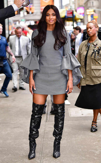 dress ciara fall outfits fall dress mini dress grey boots over the knee