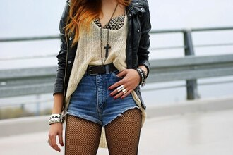 coat leather black bra spiked bra shorts jeans cross jewelry belt mesh leather jacket high waisted shorts skirt shirt jewels underwear cardigan