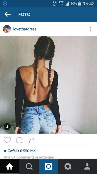 shirt backless top black top open back