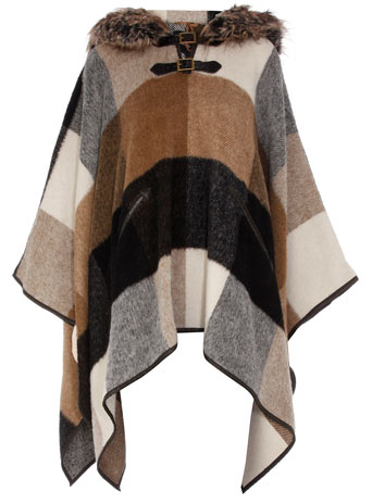 Camel check fur hood poncho
