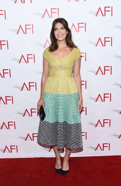 dress gown mandy moore midi dress patterned dress cut-out dress gingham