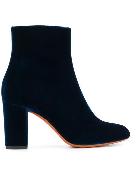 Santoni velvet ankle boots women ankle boots leather cotton blue velvet shoes
