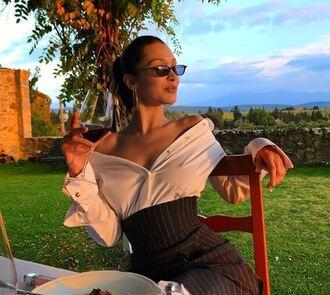 dress shirt dress asymmetrical model off-duty bella hadid instagram