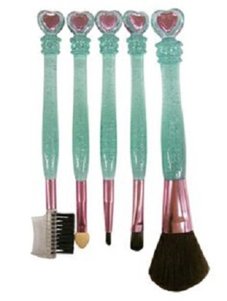 make-up kawaii pink green makeup brushes princess mermaid sparkle