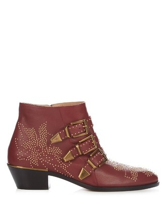 leather ankle boots boots ankle boots leather dark dark red red shoes