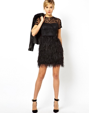 ASOS Petite | ASOS PETITE Exclusive Premium Dress With Feather Skirt at ASOS