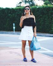 top,tumblr,off the shoulder,off the shoulder top,ruffle,ruffled top,skirt,mini skirt,white skirt,button up,shoes,bag,shorts