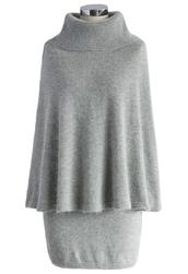 dress,angora cape and skirt set in grey,grey,chicwish,cape,skirt,set