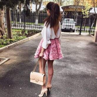 skirt pink skirt pink fluffy fashion blouse white blouse white backless blouse top bag cream high heels organza skirt shoes