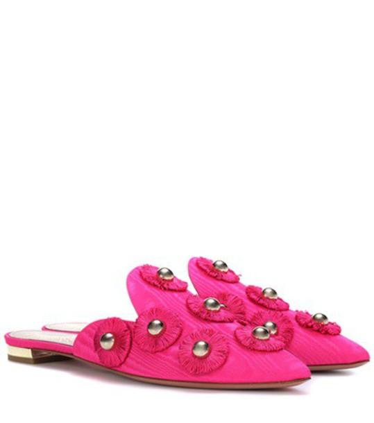 Aquazzura Sunflower embellished slip-on mules in pink