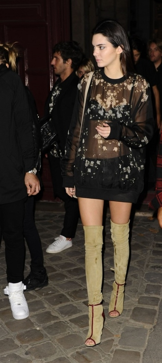 top blouse kendall jenner fashion week 2014 streetstyle sheer see through high knee boots