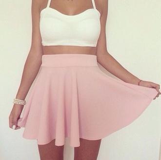 skirt pink skirt crop tops