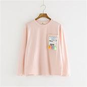 t-shirt,mori girl,pink long sleeve shirt,pastel,pastel goth,tumblr,tumblr top,tumblr outfit,kawaii,fairy kei,vertical stripes,long sleeve top,jfashion,japanese fashion,K-pop,korean fashion,mint,grey,mint top,grey top,dejavucat