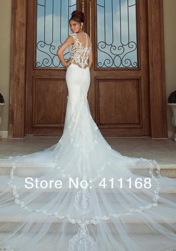 dress sexy mermaid exotic lace long soft tulle wedding dress