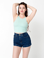 Dark Wash High-Waist Jean Cuff Short | American Apparel
