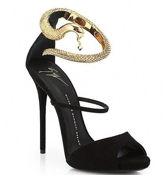 shoes black gold snake heel