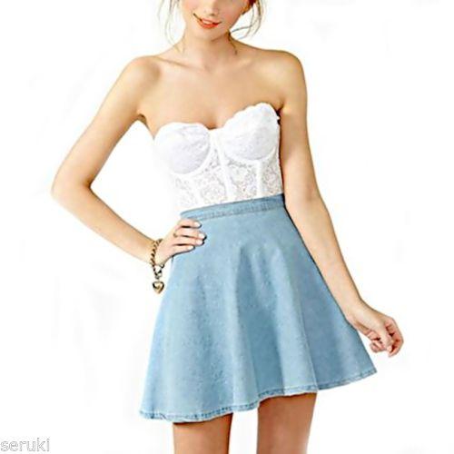 Japanese Skater Mini Skirt Kawaii Size s Light Blue Jeans Jean Denim   eBay