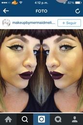 make-up,mac cosmetics,lipstick,dark,grunge,goth,benefit