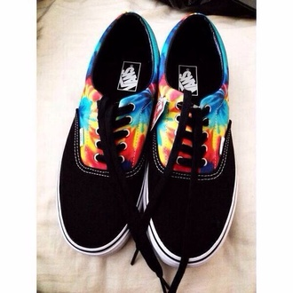 shoes vans tie dye black vans tye die vans of the wall tye-dye rainbow