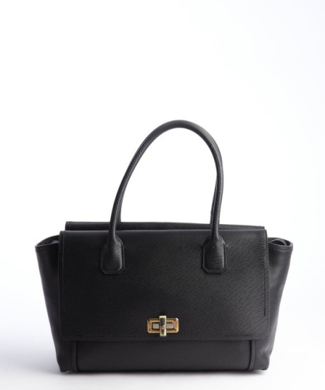 Lanvin black black leather gold clasp top handle tote bag