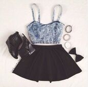 skirt,shoes,denim,crop tops,bows,tank top,shirt,blouse,denim crop top,acid wash,top,bustier,tumblr,cool,cute outfits,summer outfits,jean crop top,black skirt,dress,jeans,blue,black,girl,washed-out,skater skirt,fashion,style,tights,short party dresses,heels,bracelets,denim top,bralette,festival,grunge,hot