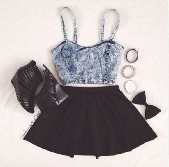 skirt shoes denim crop tops bows tank top shirt blouse denim crop top jean crop top black skirt dress