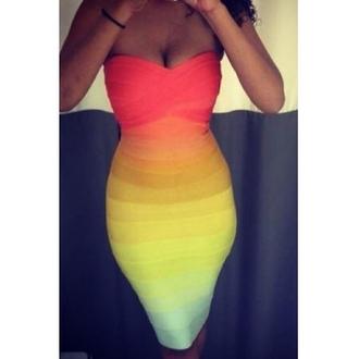 dress rainbow bandage dress