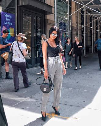 pants grey pants plaid plaid pants top black top bag black bag shoes pumps pointed toe pumps sunglasses