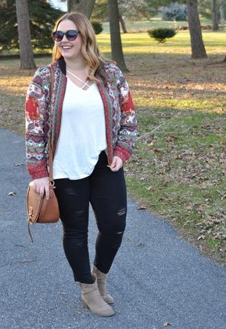 mommyinheels blogger jacket t-shirt jeans shoes bag curvy plus size jeans plus size plus size top